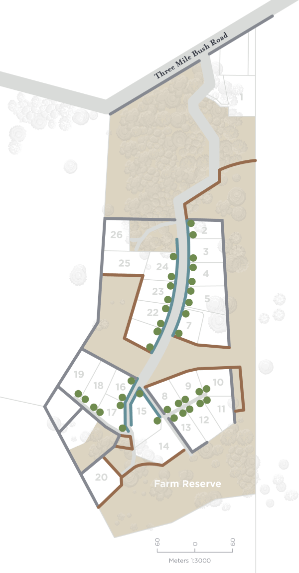 Stoney Hill section plan with landscaping elements overlaid